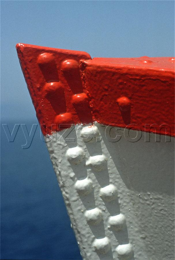 Prow of boat - red, white and blue / Location: Greece